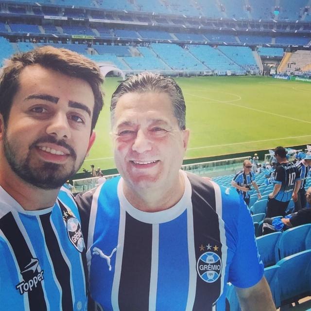 O empresário Vilmar Rosset foi para terras gaúchas torcer pelo Grêmio e encontrou por lá o amigo Filipe