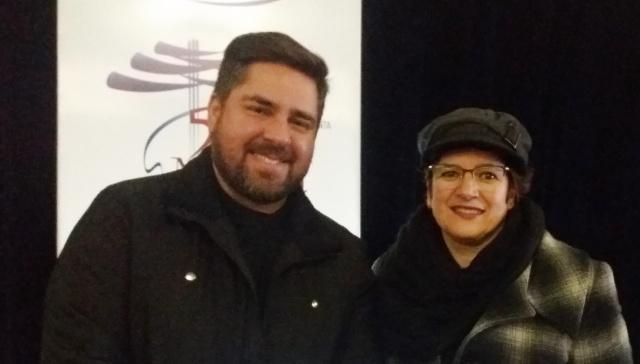 Mario Wilson Cusatis, gerente da Engie Tractebel Energia, patrocinadora do evento, com a Produtora do Música na Serra, Edite Moraes