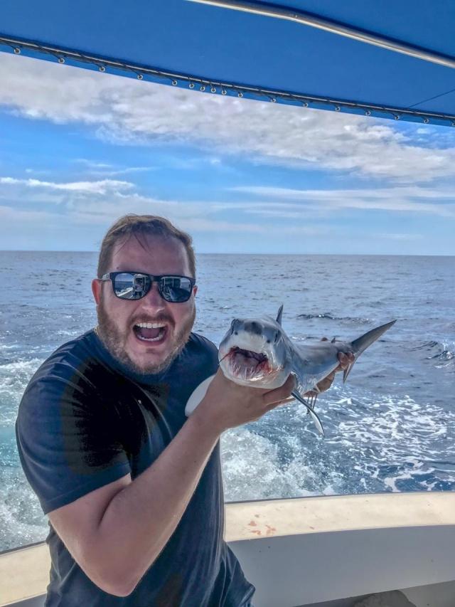 Durante pescaria com amigos, a 40 quilômetros da costa de Porto Belo, litoral de Santa Catarina, Matheus Sens Concer capturou esse lindo filhote de tubarão branco. A mesma espécie que aterrorizou nas telas de cinema nos anos de 1975. Esse exemplar, é claro, foi devolvido ao mar.